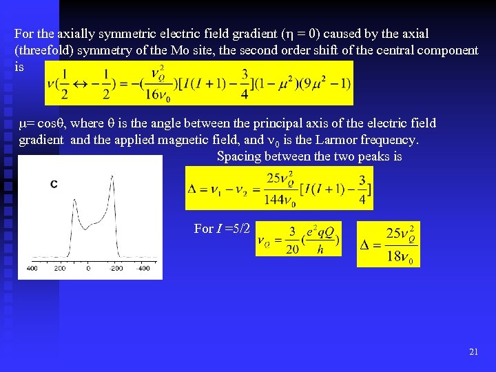 For the axially symmetric electric field gradient (h = 0) caused by the axial