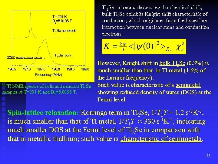 Tl 2 Se nanorods show a regular chemical shift, bulk Tl 2 Se exhibits