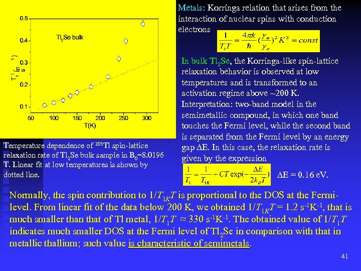 Metals: Korringa relation that arises from the interaction of nuclear spins with conduction electrons
