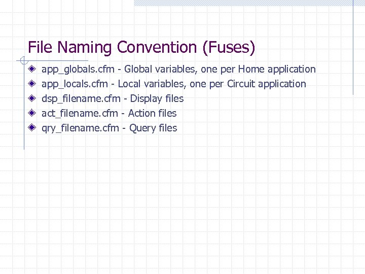 File Naming Convention (Fuses) app_globals. cfm - Global variables, one per Home application app_locals.