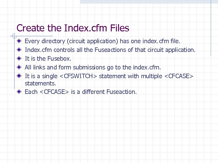 Create the Index. cfm Files Every directory (circuit application) has one index. cfm file.