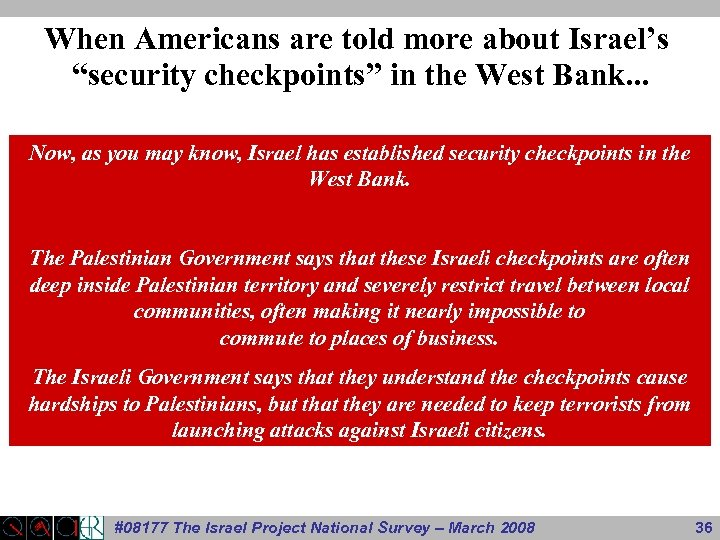 """When Americans are told more about Israel's """"security checkpoints"""" in the West Bank. ."""