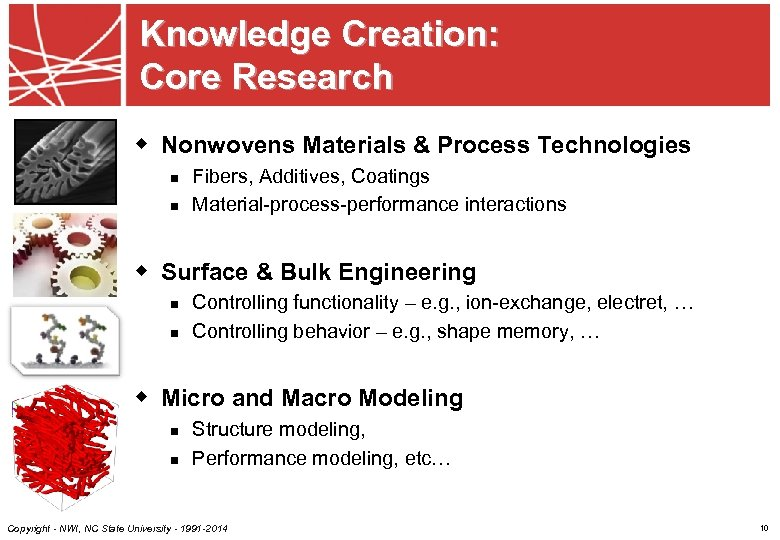 Knowledge Creation: Core Research w Nonwovens Materials & Process Technologies n n Fibers, Additives,