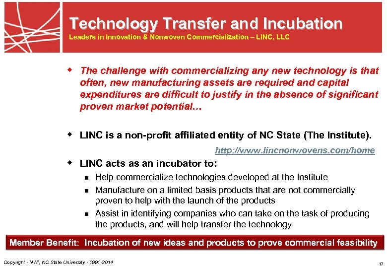 Technology Transfer and Incubation Leaders in Innovation & Nonwoven Commercialization – LINC, LLC w