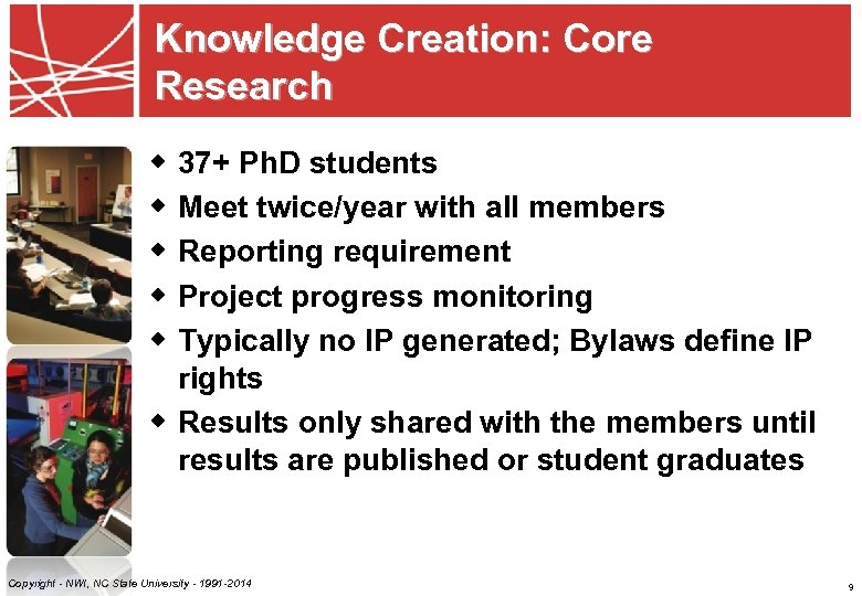 Knowledge Creation: Core Research w 37+ Ph. D students w Meet twice/year with all