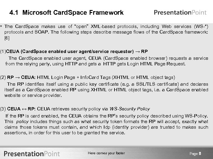 """4. 1 Microsoft Card. Space Framework § The Card. Space makes use of """"open"""""""