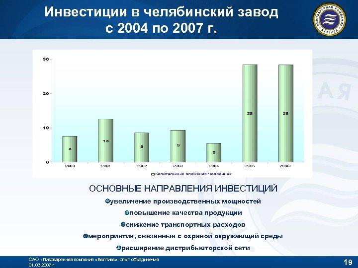 Инвестиции в челябинский завод с 2004 по 2007 г. ОСНОВНЫЕ НАПРАВЛЕНИЯ ИНВЕСТИЦИЙ увеличение производственных