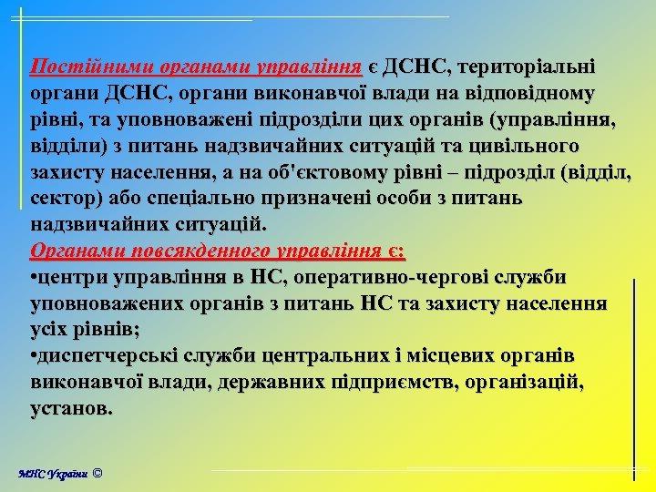 Постійними органами управління є ДСНС, територіальні органи ДСНС, органи виконавчої влади на відповідному рівні,