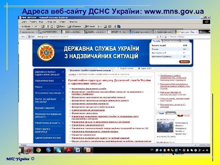 Адреса веб-сайту ДСНС України: www. mns. gov. ua