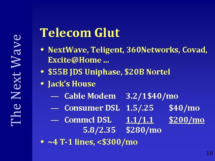 The Next Wave Telecom Glut w Next. Wave, Teligent, 360 Networks, Covad, Excite@Home. .