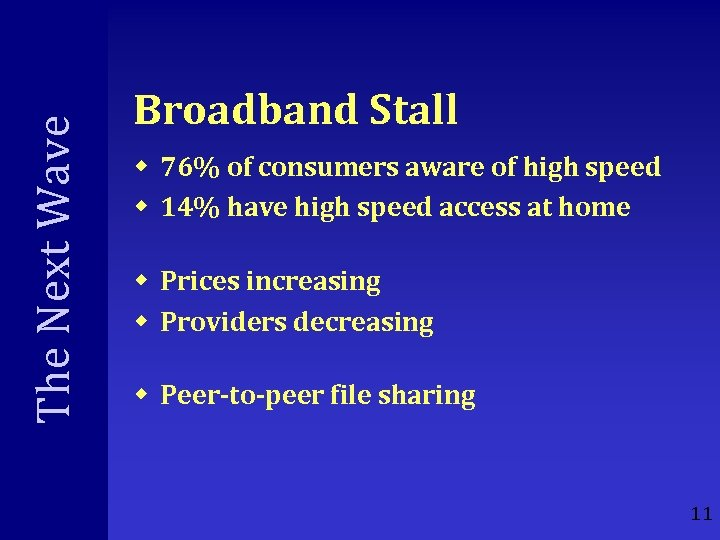 The Next Wave Broadband Stall w 76% of consumers aware of high speed w