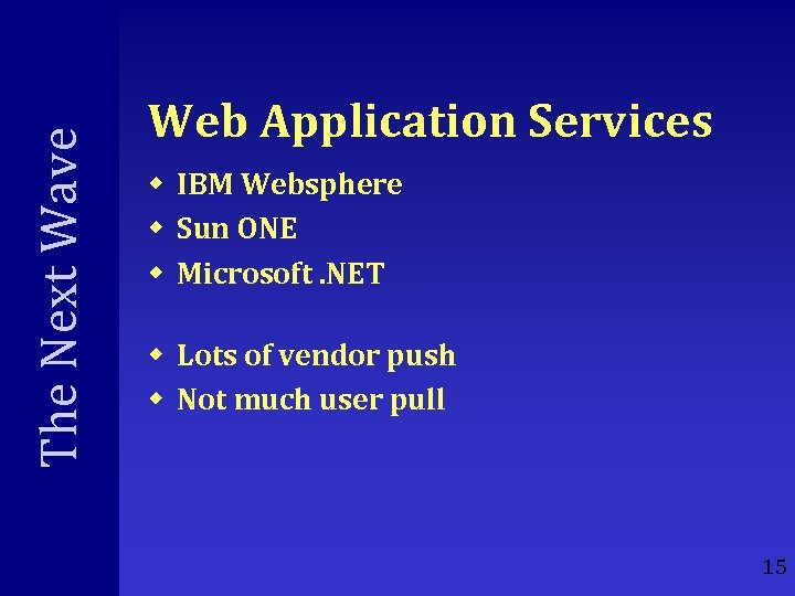 The Next Wave Web Application Services w IBM Websphere w Sun ONE w Microsoft.