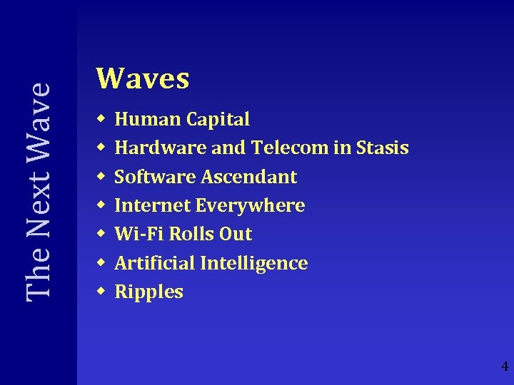 The Next Waves w w w w Human Capital Hardware and Telecom in Stasis