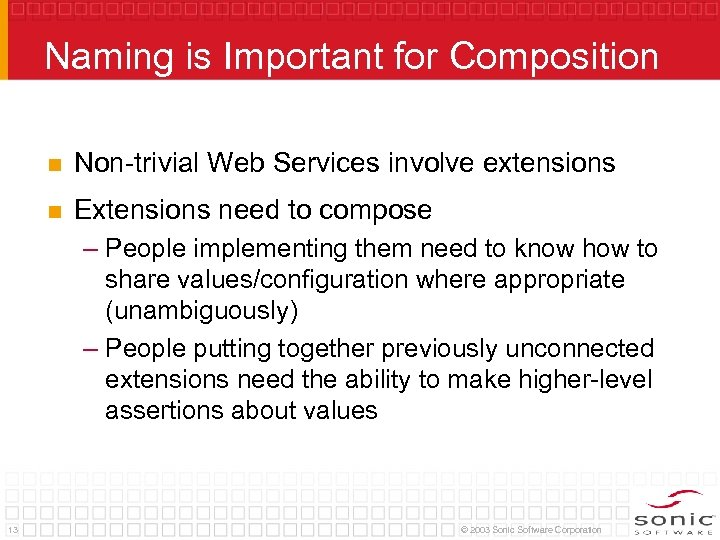 Naming is Important for Composition n Non-trivial Web Services involve extensions n Extensions need