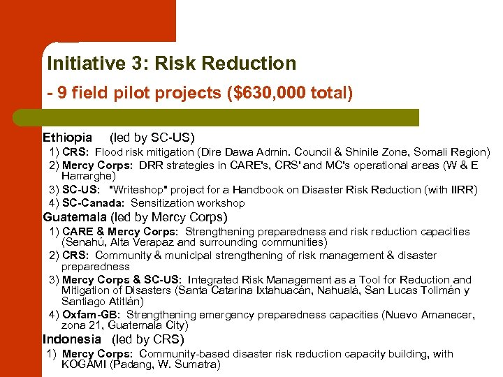 Initiative 3: Risk Reduction - 9 field pilot projects ($630, 000 total) Ethiopia (led
