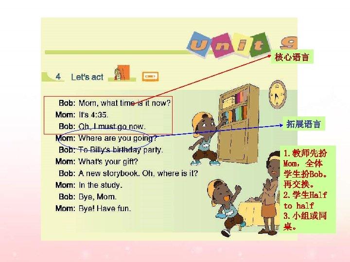 核心语言 拓展语言 1. 教师先扮 Mom,全体 学生扮Bob。 再交换。 2. 学生Half to half 3. 小组或同 桌。