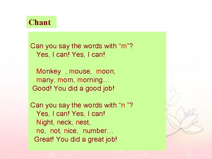 """Chant Can you say the words with """"m""""? Yes, I can! Monkey , mouse,"""