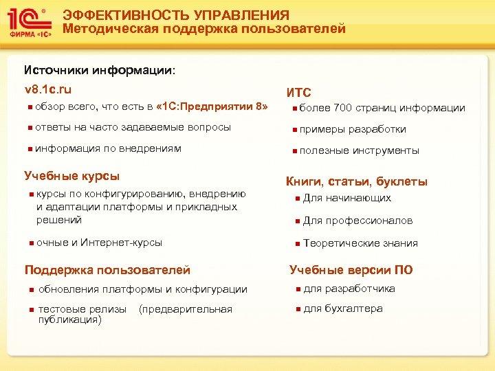 ЭФФЕКТИВНОСТЬ УПРАВЛЕНИЯ Методическая поддержка пользователей Источники информации: v 8. 1 c. ru ИТС n
