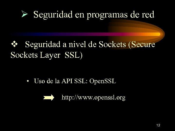 Ø Seguridad en programas de red v Seguridad a nivel de Sockets (Secure Sockets