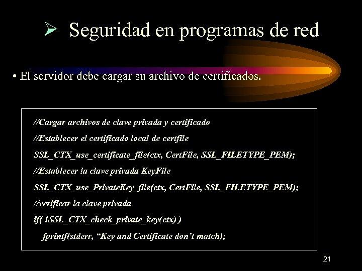 Ø Seguridad en programas de red • El servidor debe cargar su archivo de