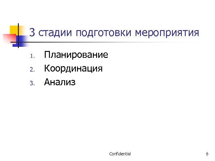 3 стадии подготовки мероприятия 1. 2. 3. Планирование Координация Анализ Confidential 6