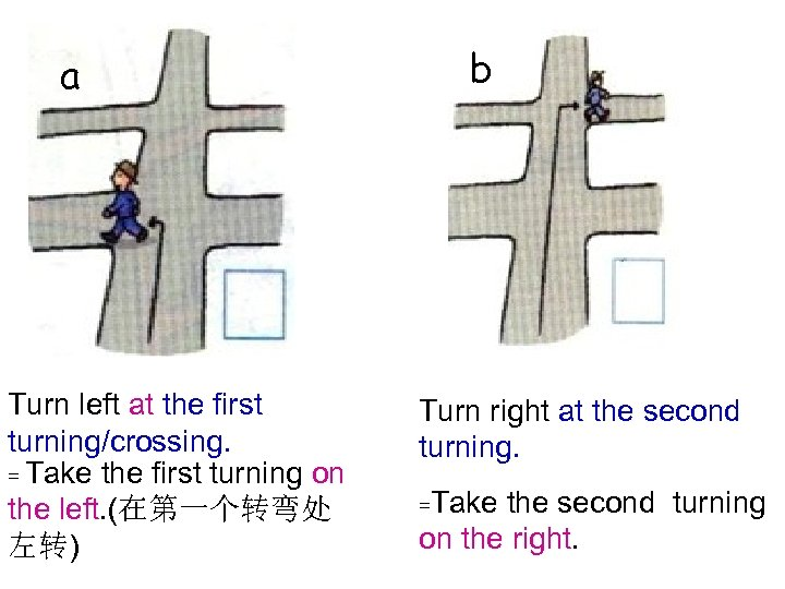a Turn left at the first turning/crossing. = Take the first turning on the