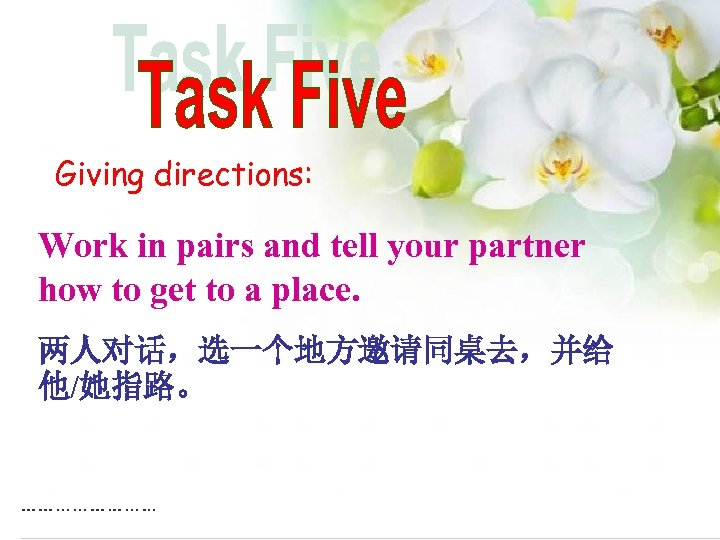 Giving directions: Work in pairs and tell your partner how to get to a