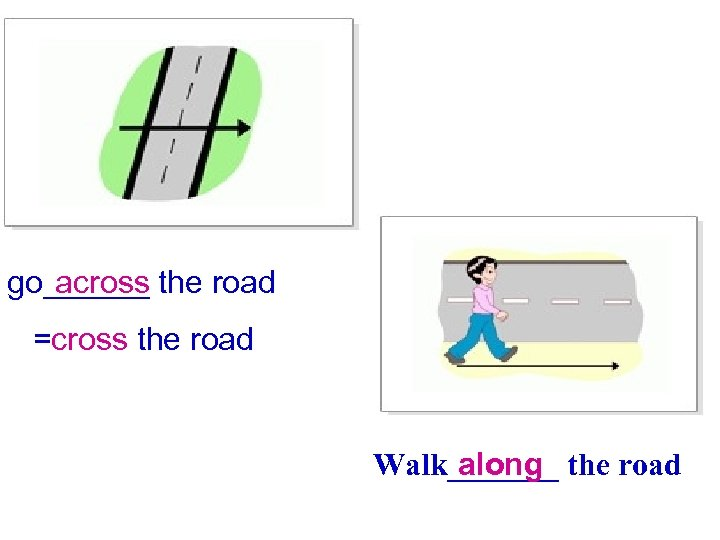 across go______ the road =cross the road Walk_______ the road along