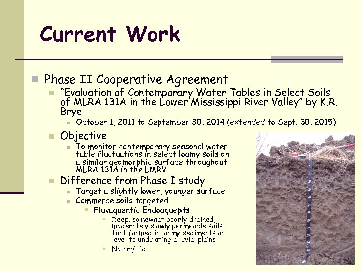 """Current Work n Phase II Cooperative Agreement n """"Evaluation of Contemporary Water Tables in"""