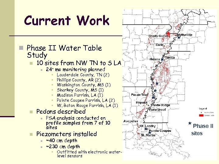 Current Work * n Phase II Water Table Study n n 24+ mo monitoring