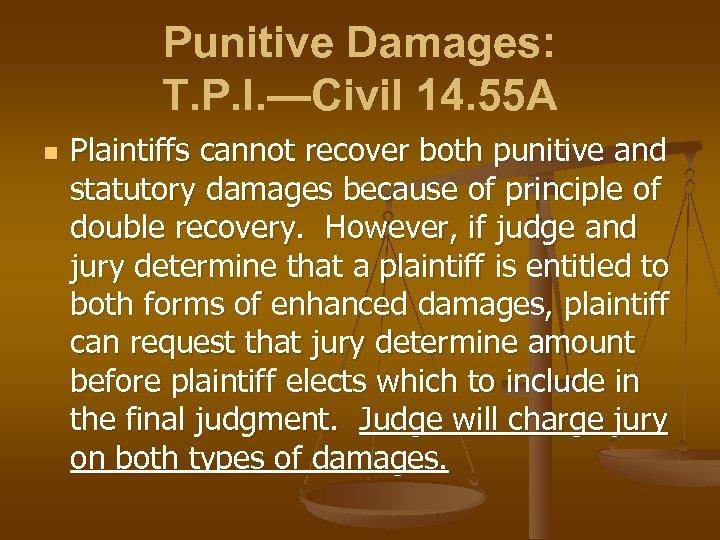Punitive Damages: T. P. I. —Civil 14. 55 A n Plaintiffs cannot recover both