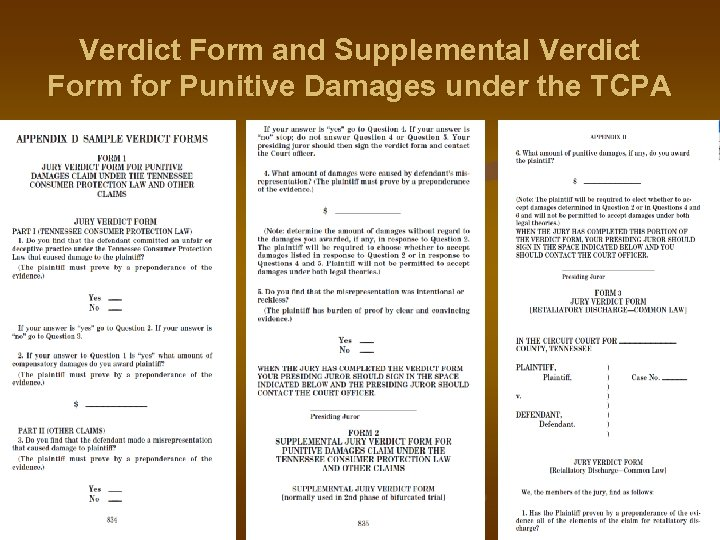 Verdict Form and Supplemental Verdict Form for Punitive Damages under the TCPA