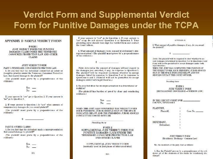 Verdict Form and Supplemental Verdict Form for Punitive Damages under the TCPA
