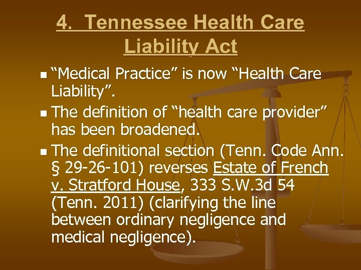 "4. Tennessee Health Care Liability Act n ""Medical Practice"" is now ""Health Care Liability""."