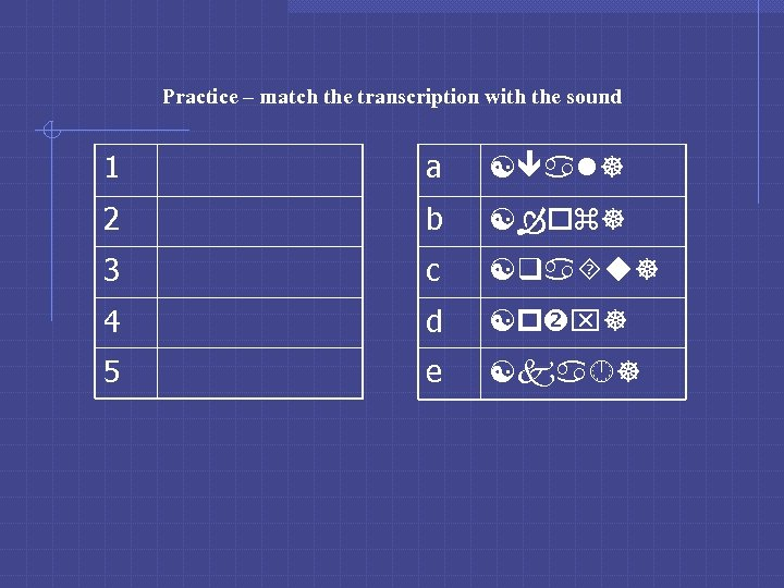 Practice – match the transcription with the sound 1 a [ al] 2 b