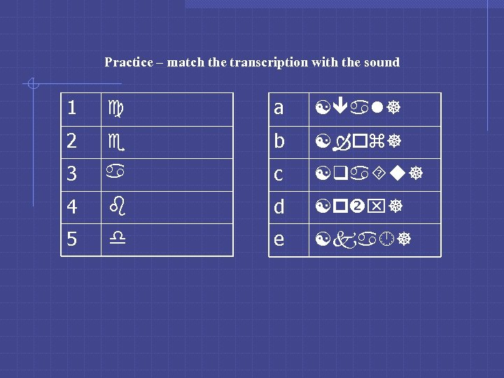 Practice – match the transcription with the sound 1 c a [ al] 2