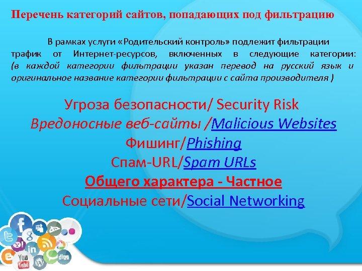 Перечень категорий сайтов, попадающих под фильтрацию В рамках услуги «Родительский контроль» подлежит фильтрации трафик
