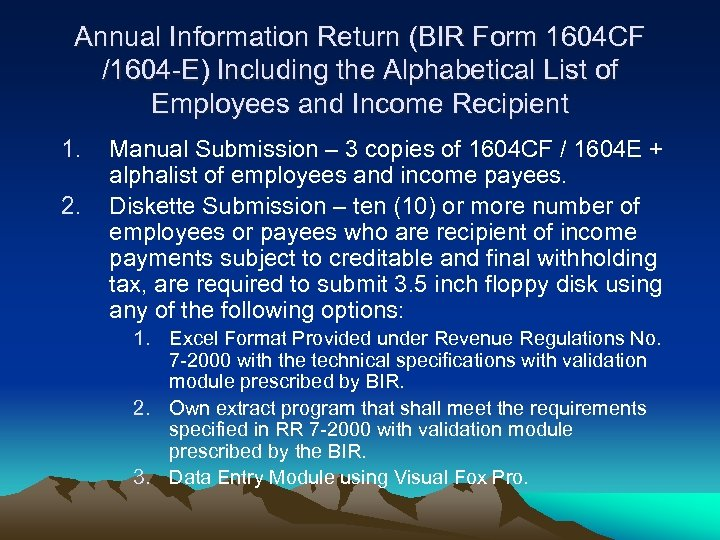 TAX SEMINAR Year-End Adjustment Substituted Filing Registration