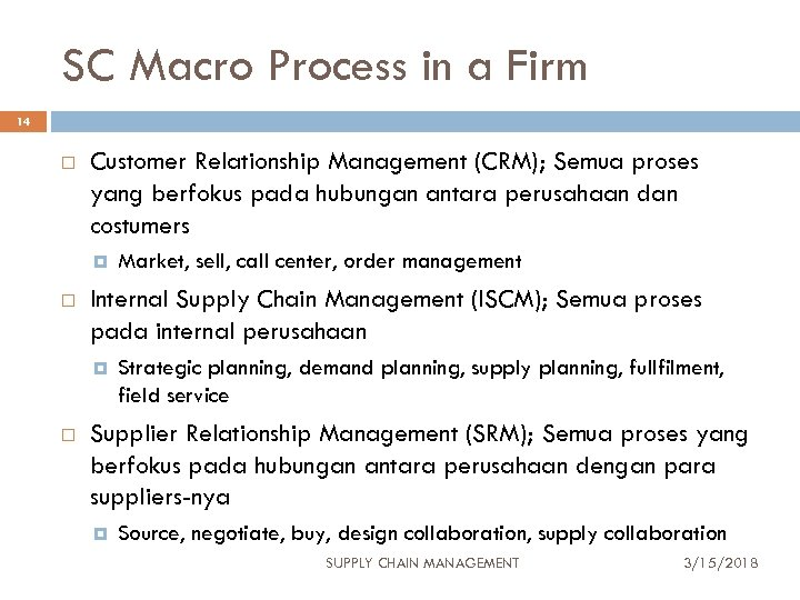 SC Macro Process in a Firm 14 Customer Relationship Management (CRM); Semua proses yang