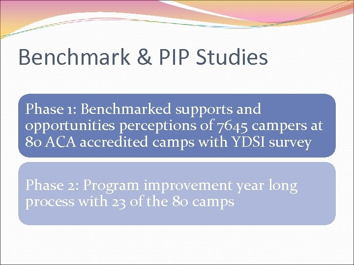 Benchmark & PIP Studies Phase 1: Benchmarked supports and opportunities perceptions of 7645 campers