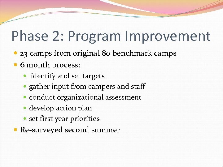 Phase 2: Program Improvement 23 camps from original 80 benchmark camps 6 month process: