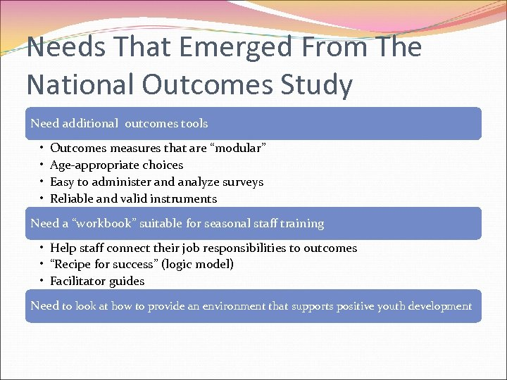 Needs That Emerged From The National Outcomes Study Need additional outcomes tools • •
