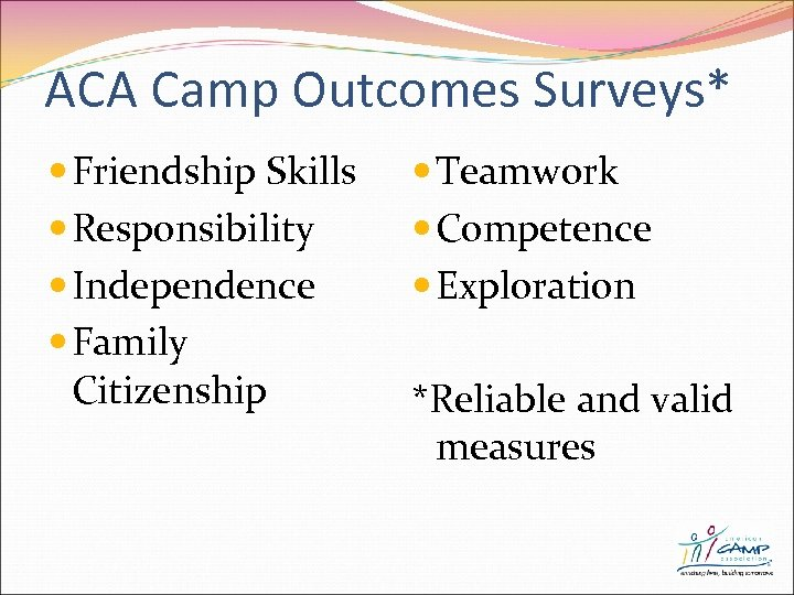 ACA Camp Outcomes Surveys* Friendship Skills Responsibility Independence Family Citizenship Teamwork Competence Exploration *Reliable
