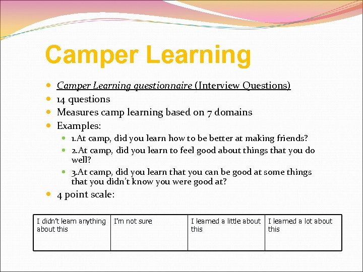 Camper Learning Camper Learning questionnaire (Interview Questions) 14 questions Measures camp learning based on