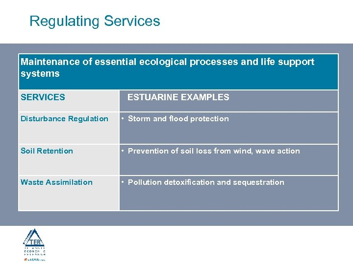 Regulating Services Maintenance of essential ecological processes and life support systems SERVICES ESTUARINE EXAMPLES