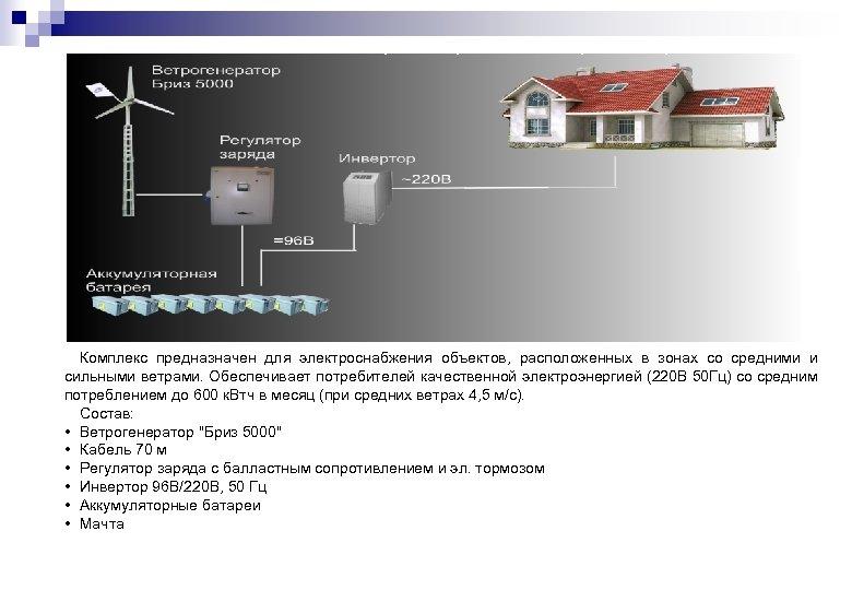 Ветроэлектростанция «Бриз Лидер» Комплекс предназначен для электроснабжения объектов, расположенных в зонах со средними и