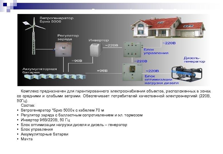 Ветродизельный комплекс «Бриз Дизель+» Комплекс предназначен для гарантированного электроснабжения объектов, расположенных в зонах со
