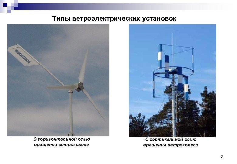 Типы ветроэлектрических установок С горизонтальной осью вращения ветроколеса С вертикальной осью вращения ветроколеса 7