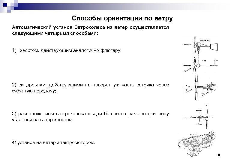 Способы ориентации по ветру Автоматический установ Ветроколеса на ветер осуществляется следующими четырьмя способами: 1)