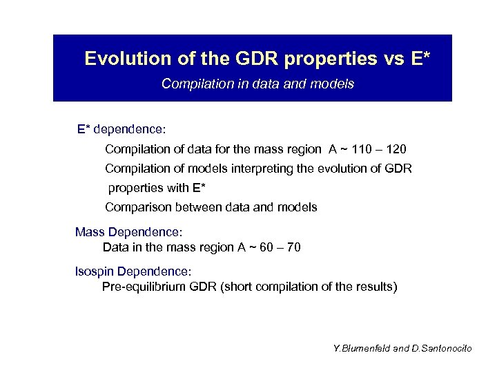 Evolution of the GDR properties vs E* Compilation in data and models E* dependence: